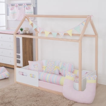 Kit Mini Cama Montessoriano Lhama Candy Colors Bebe Enxovais